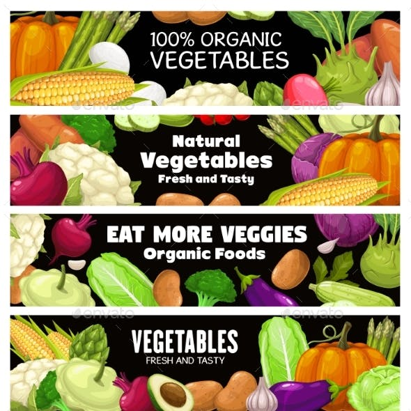 Vegetables Vector Banners, Cartoon Raw Veggies