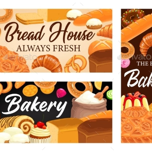 Bakery Shop, Bread House Cartoon Vector Banners
