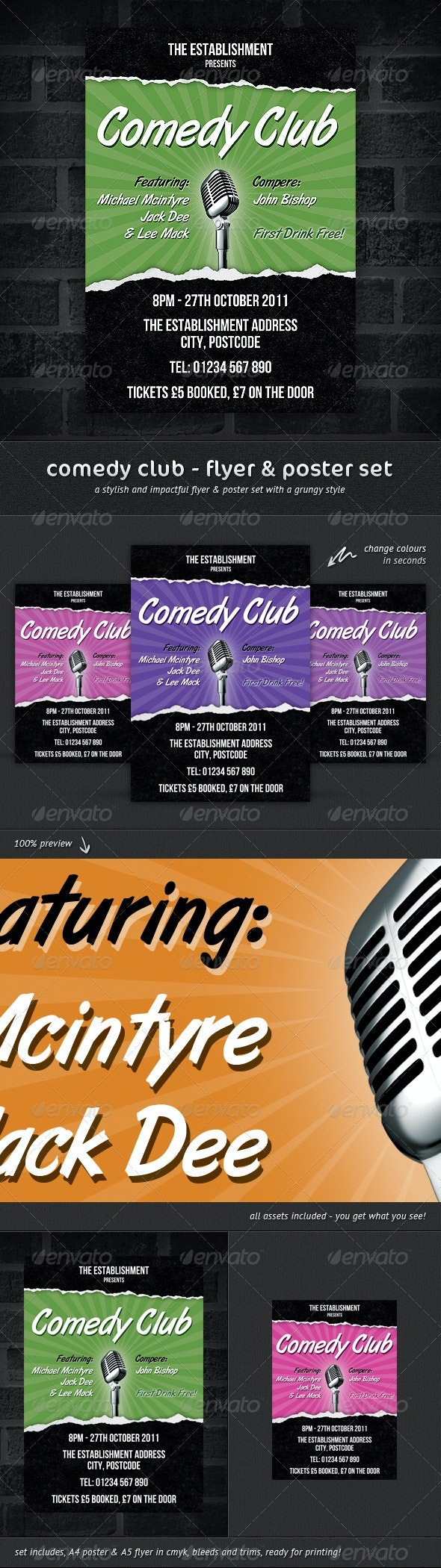 Comedy Club - Flyer & Poster Set - Miscellaneous Events