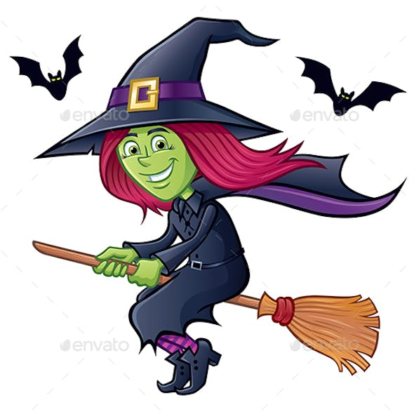 Cute Witch Flying On Her Broomstick