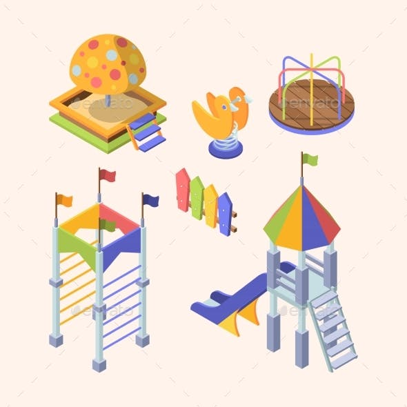 Playground Rides Isometric Set. Colorful Slippers