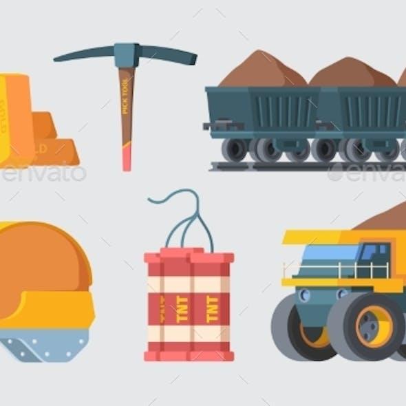 Mine Quarry Equipment Set. Column Trolleys Filled