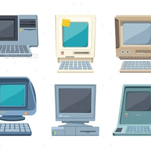 Retro Computers Set.