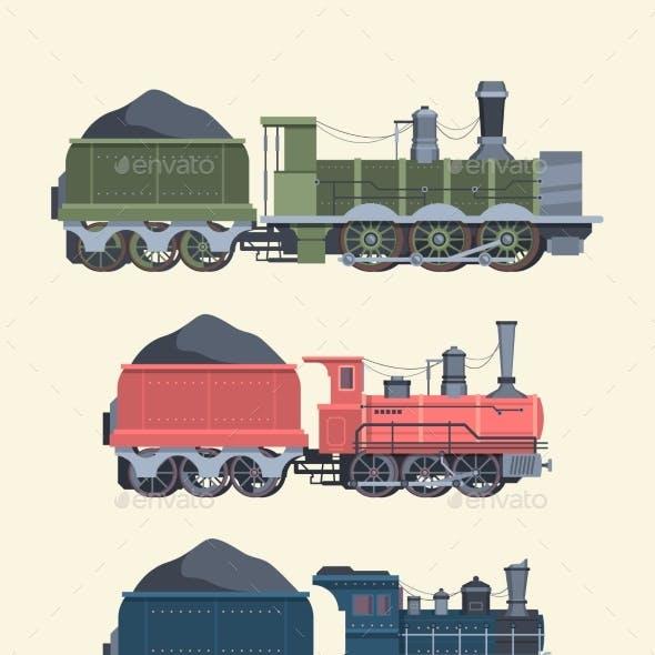 Retro Steam Locomotives Set. Old Steam Powered