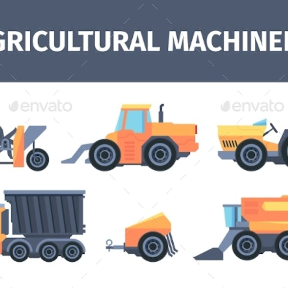 Agricultural Machines and Mechanisms Set. Powerful