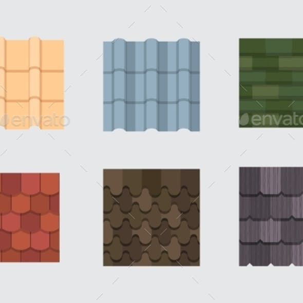 Roof Tile Set. Embossed Roof Covering