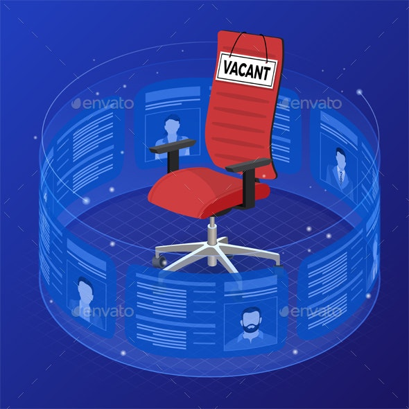 Isometric Job Agency Employment and Hiring Concept - Concepts Business