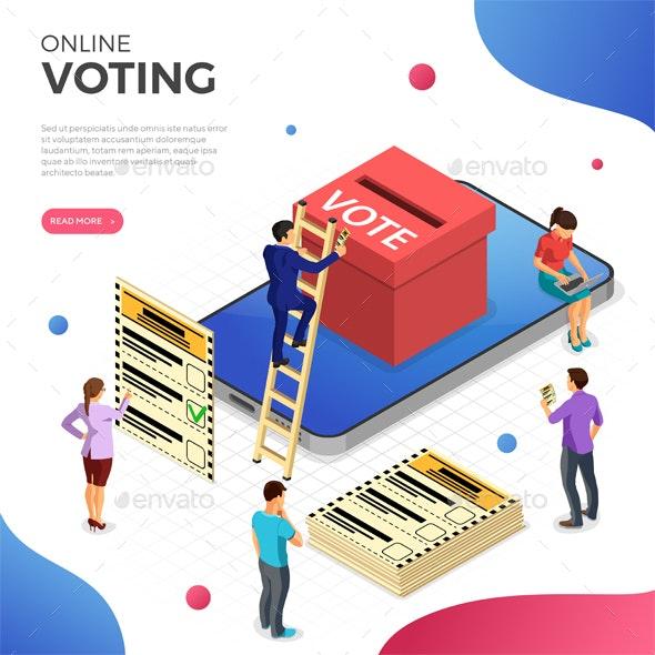 Online Internet Voting Isometric Concept - Web Technology