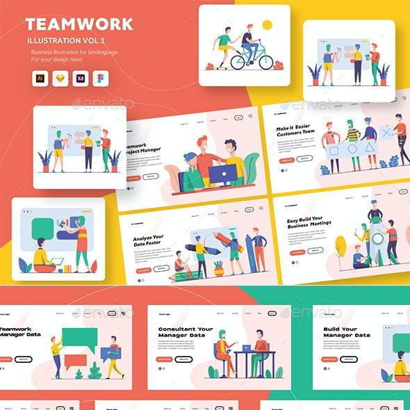 Illustration Startup Teamwork Pack