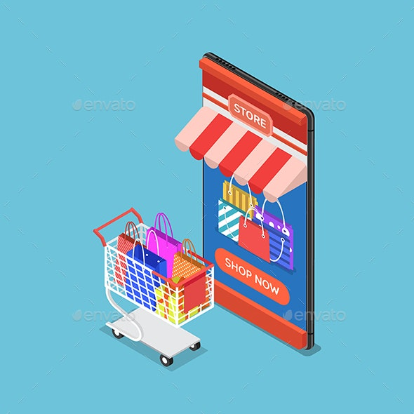 Isometric Online Store on Smartphone With Cart and Shopping Bag - Concepts Business
