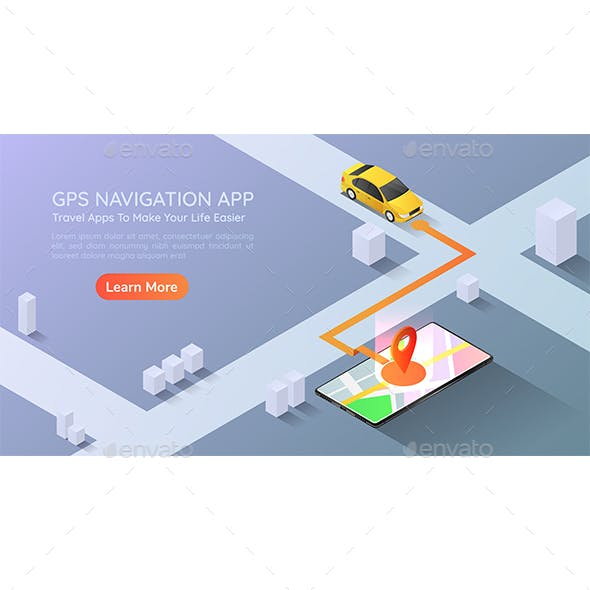 Isometric Web Banner Car Going to Destination