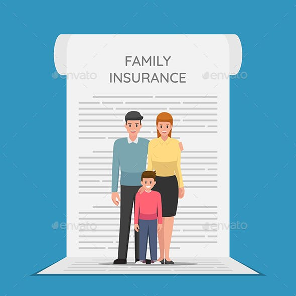 Family Members are Standing on The Insurance Policy Document