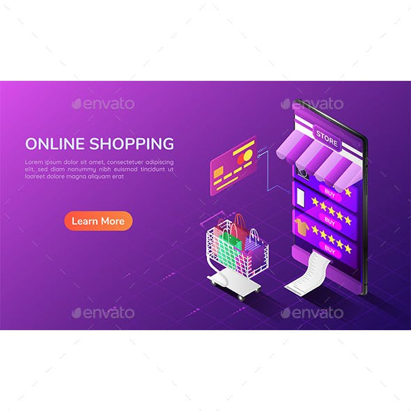 Isometric Web Banner Online Shopping System in The Smartphone with Cart and Credit Card