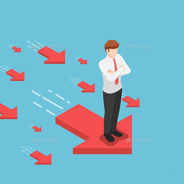 Isometric Businessman Standing on Red Arrow with His Arms Crossed