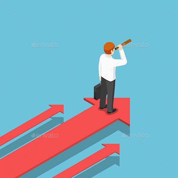 Isometric Businessman with Telescope Standing on Arrow That Moving Forward