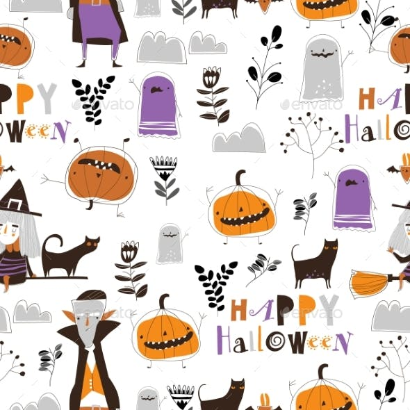 Seamless Pattern with Halloween Characters