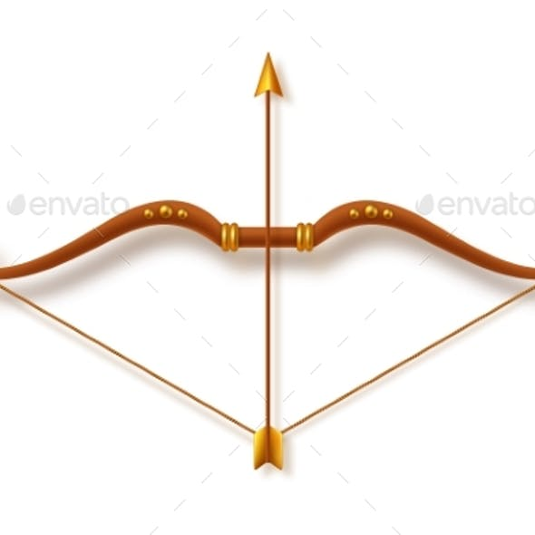 Antique Bow and Arrow on White Background