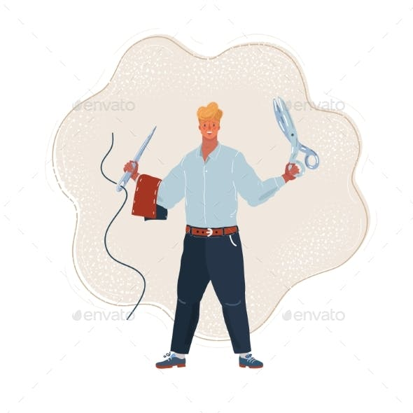 Vector Illustration of Tailor Man Holds a Pair of Scissors