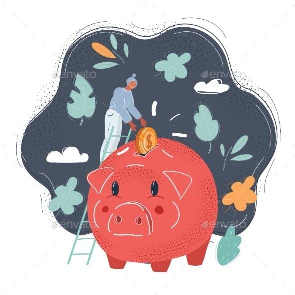 Vector Illustration of Golden Coins Falling Into a Piggy Bank