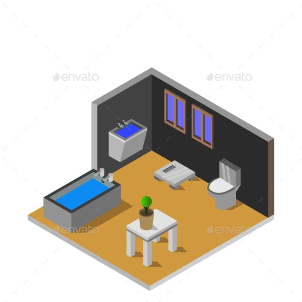 Isometric Bathroom Room