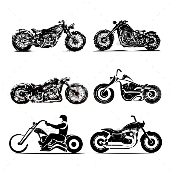 Chopper Motorcycle Silhouette Classic Road - Miscellaneous Vectors