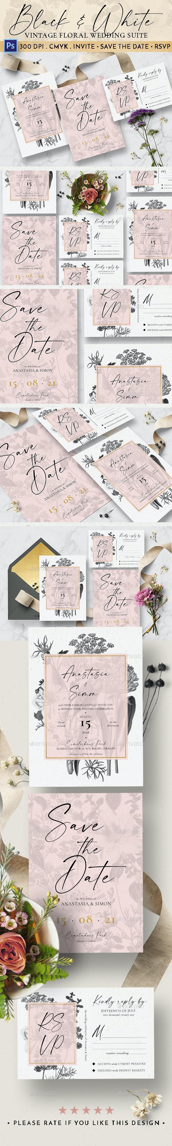 Black & White Vintage Floral Wedding Suite - Weddings Cards & Invites