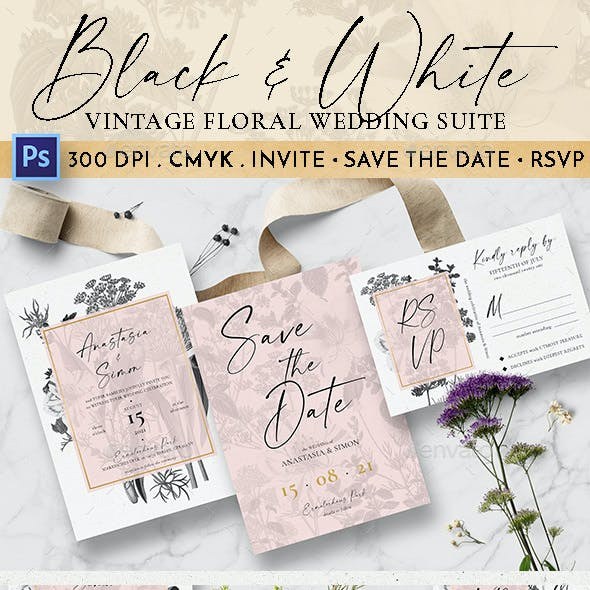 Black & White Vintage Floral Wedding Suite