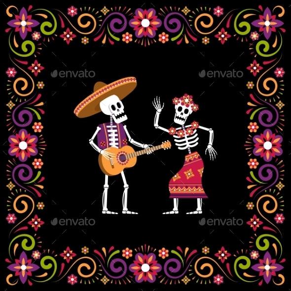 Dia De Muertos Day of Dead Ornamental Frame - Flowers & Plants Nature