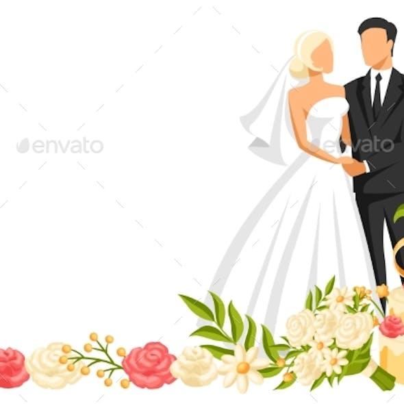 Wedding Illustration of Bride and Groom