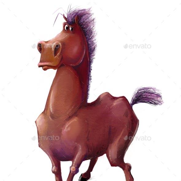 Cute Cartoon Brown Horse Character