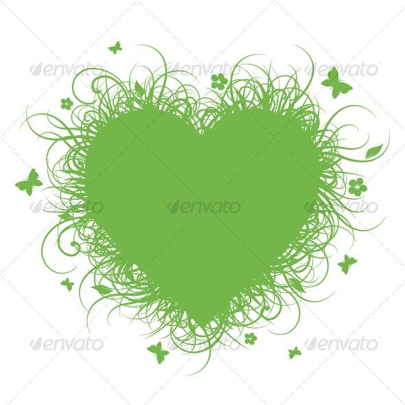Green grass heart - Flourishes / Swirls Decorative