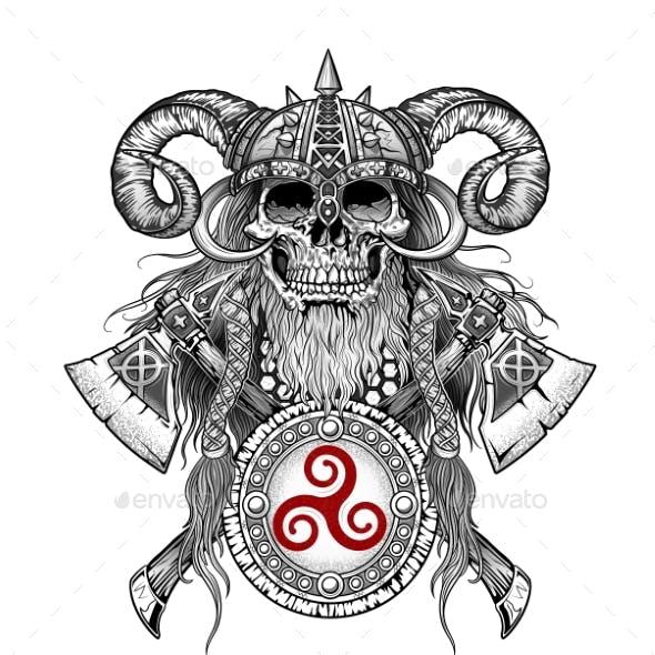 Viking Skull Emblem with Axes and Shield