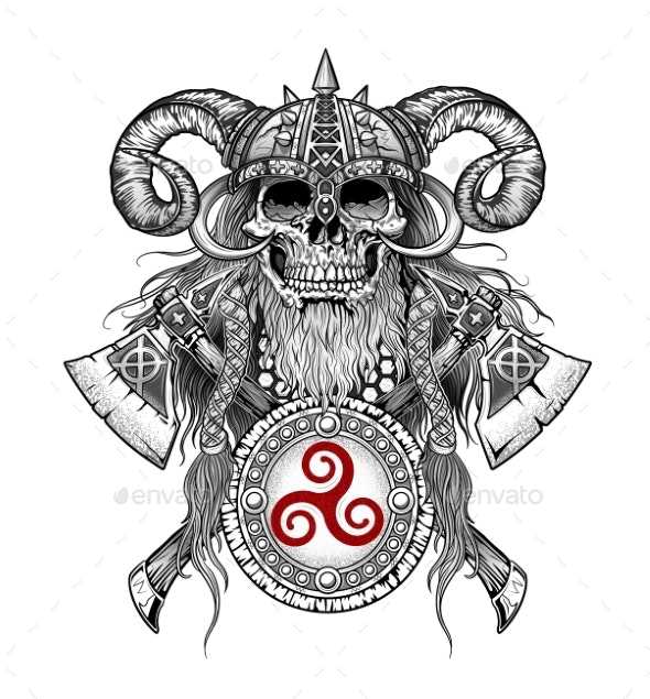 Viking Skull Emblem with Axes and Shield - Miscellaneous Vectors