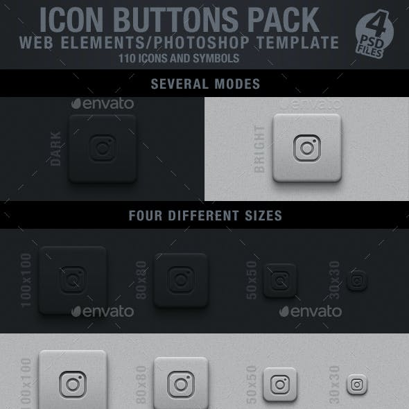 Icon Buttons Pack | Web Elements/Photoshop Templates
