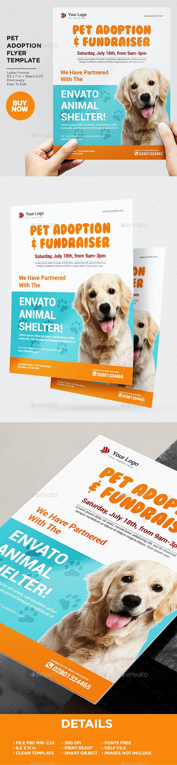 Pet Adoption Sevice Flyer Template - Flyers Print Templates