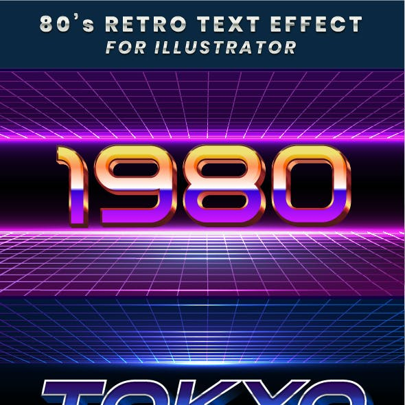 Retro 80s Text Effects Graphic Styles
