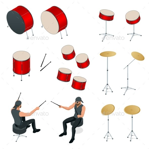 Isometric Drummer Behind the Drum Icon Set