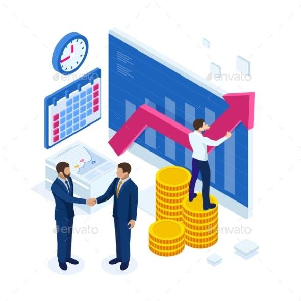Isometric Business To Business Marketing, B2B