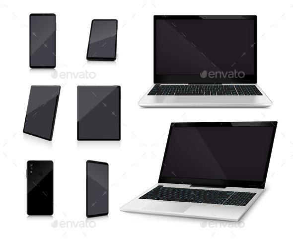 Laptop Smartphone Mockups Realistic Set - Miscellaneous Vectors