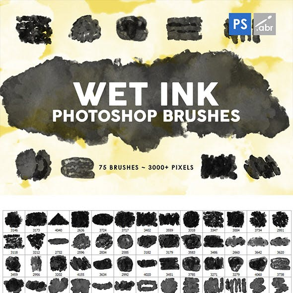 Wet Ink Photoshop Stamp Brushes