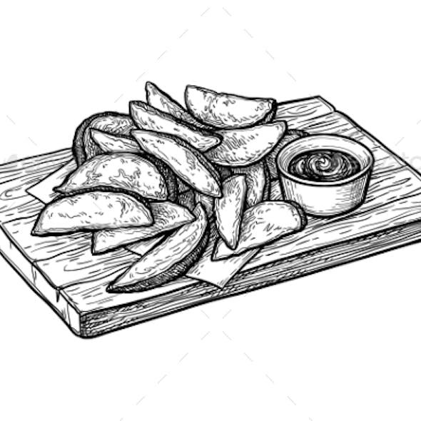 Ink Sketch of Potato Wedges
