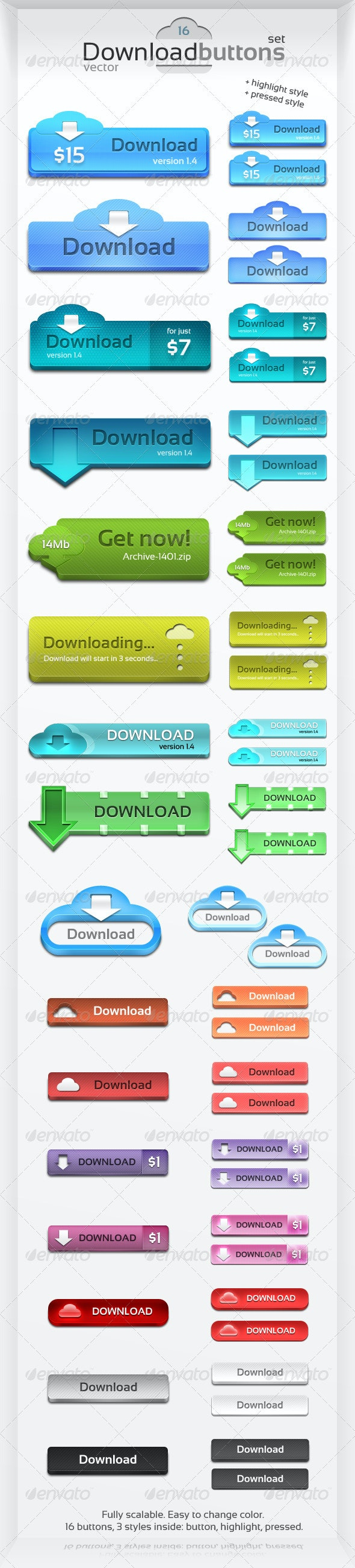 Scalable Download Buttons Set. - Buttons Web Elements