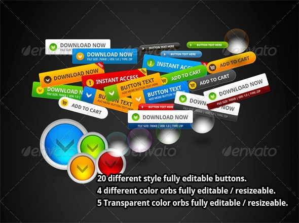 20 Different Style Buttons - Buttons Web Elements