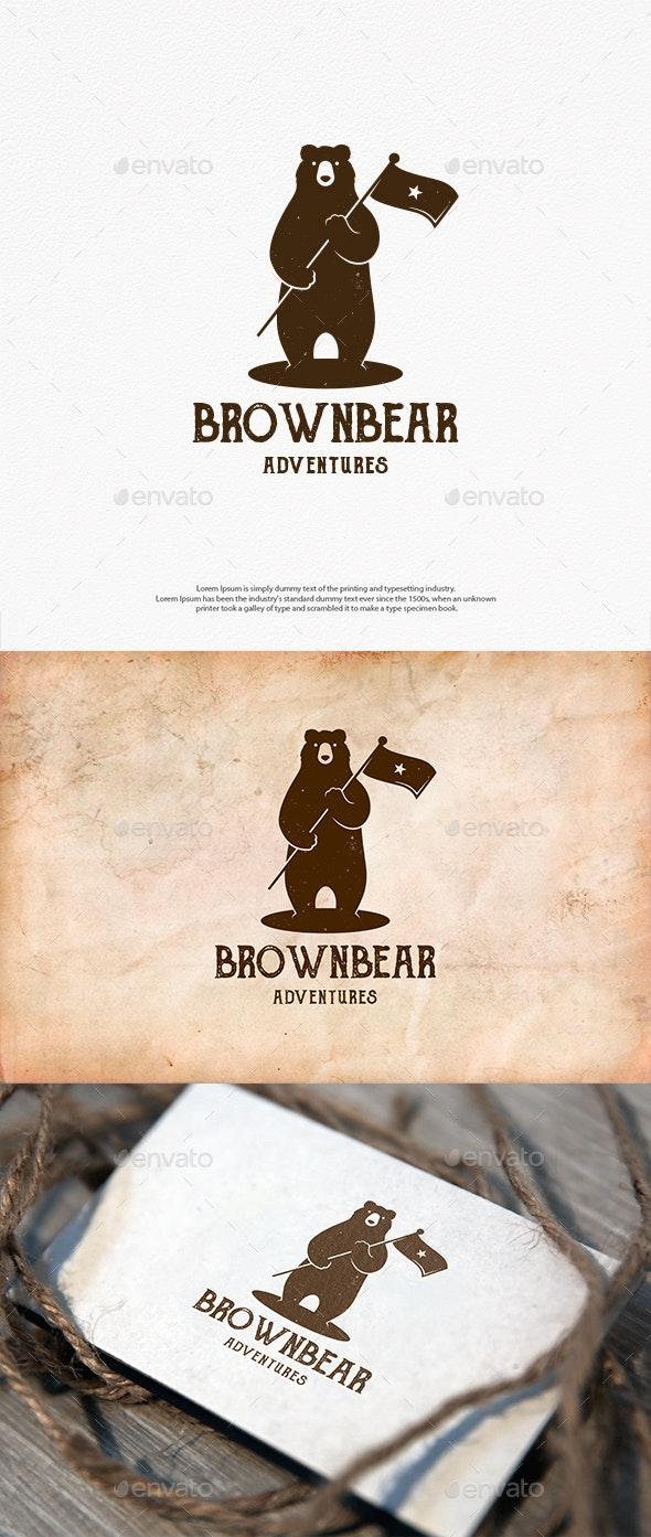 Bear Star Flag Logo Template - Animals Logo Templates