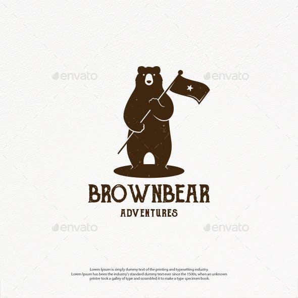 Bear Star Flag Logo Template