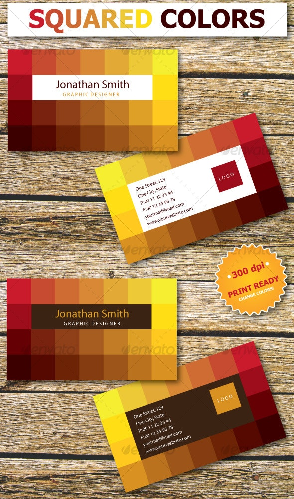 Squared Colors Business Card - Creative Business Cards