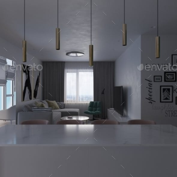 3d Illustration of an Interior Living Room and