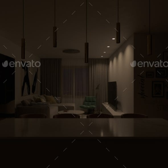 3d Render of an Interior Living Room with Light