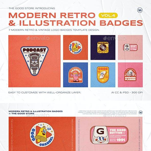 Modern Retro Illustration Logo Badges Set Vol.4