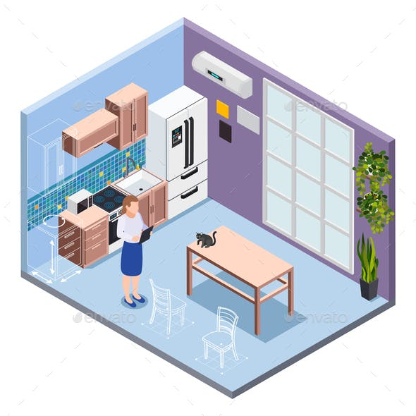 Kitchen Isometric Interior
